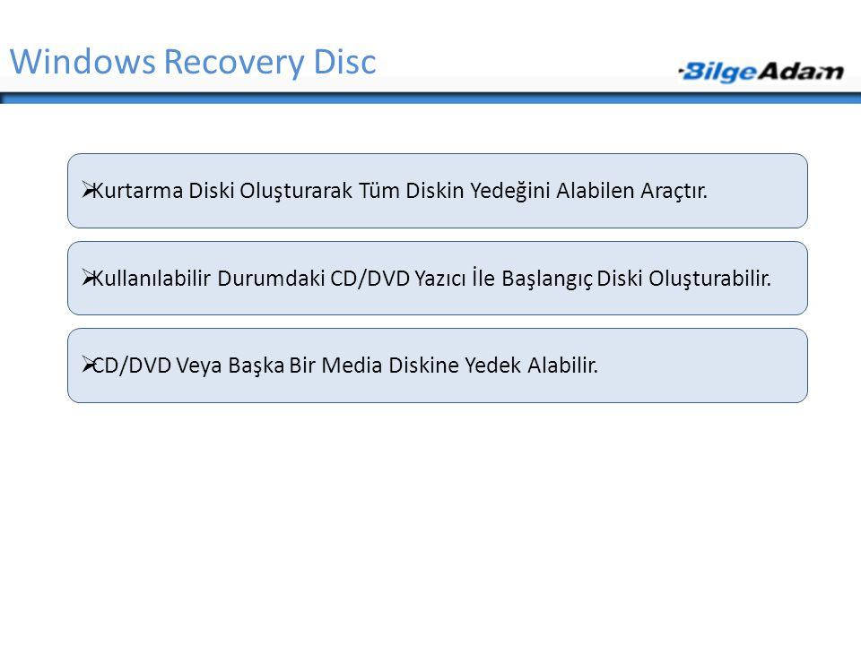 Windows Recovery Disc Kurtarma Diski Oluşturarak Tüm Diskin Yedeğini Alabilen Araçtır.
