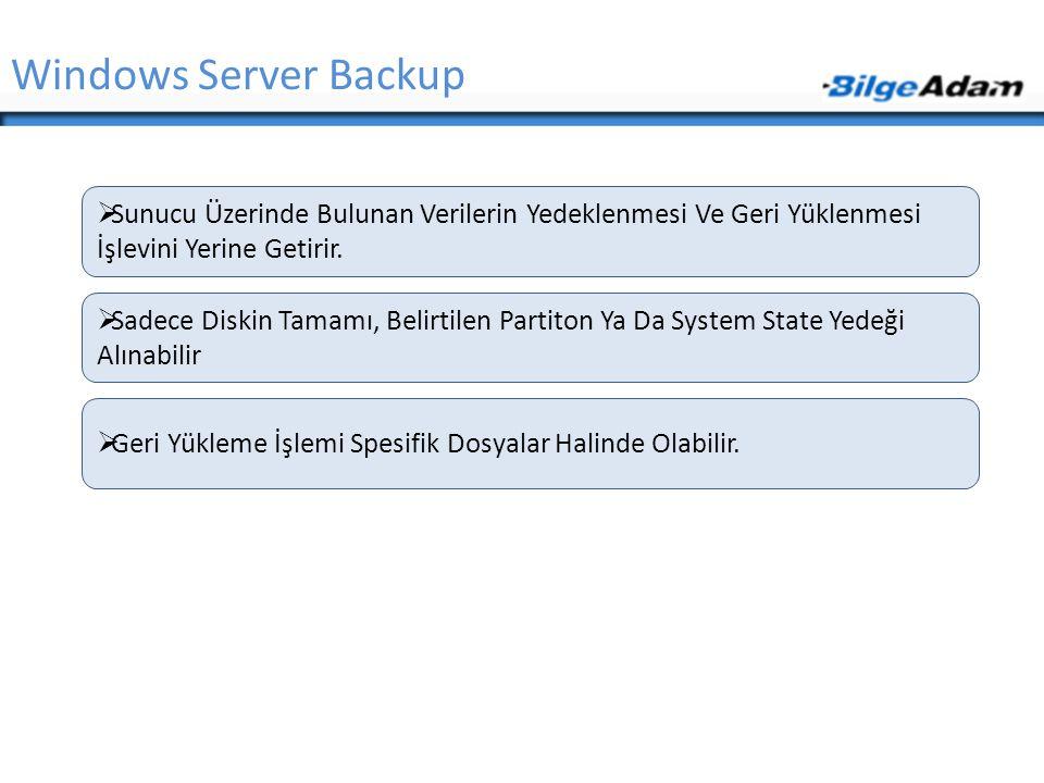 Windows Server Backup Sunucu Üzerinde Bulunan Verilerin Yedeklenmesi Ve Geri Yüklenmesi İşlevini Yerine Getirir.