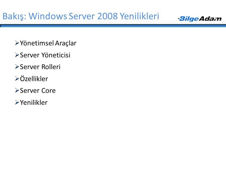 Bakış: Windows Server 2008 Yenilikleri