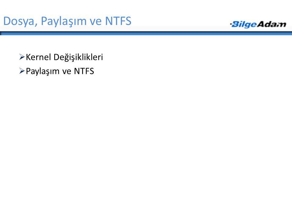 Dosya, Paylaşım ve NTFS Kernel Değişiklikleri Paylaşım ve NTFS