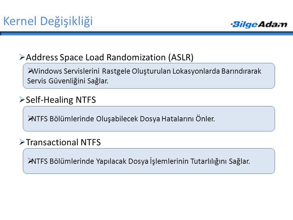 Kernel Değişikliği Address Space Load Randomization (ASLR)
