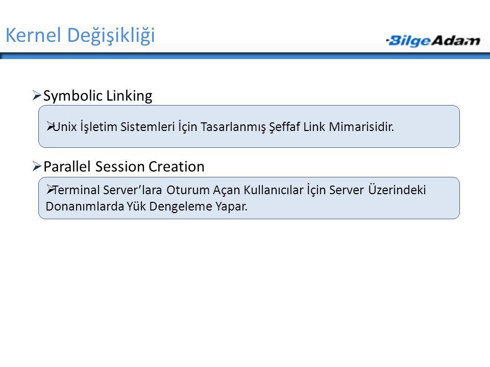 Kernel Değişikliği Symbolic Linking Parallel Session Creation