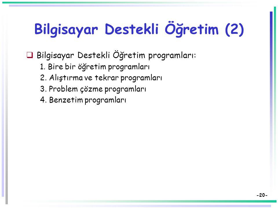Bilgisayar Destekli Öğretim (2)