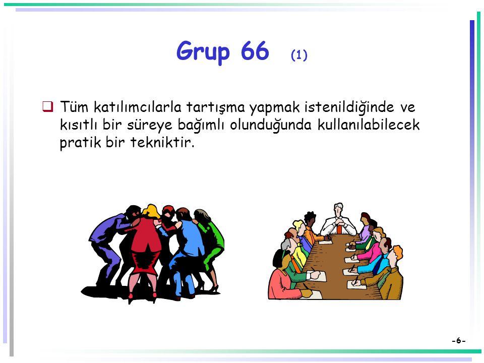 Grup 66 (1) Tüm katılımcılarla tartışma yapmak istenildiğinde ve kısıtlı bir süreye bağımlı olunduğunda kullanılabilecek pratik bir tekniktir.