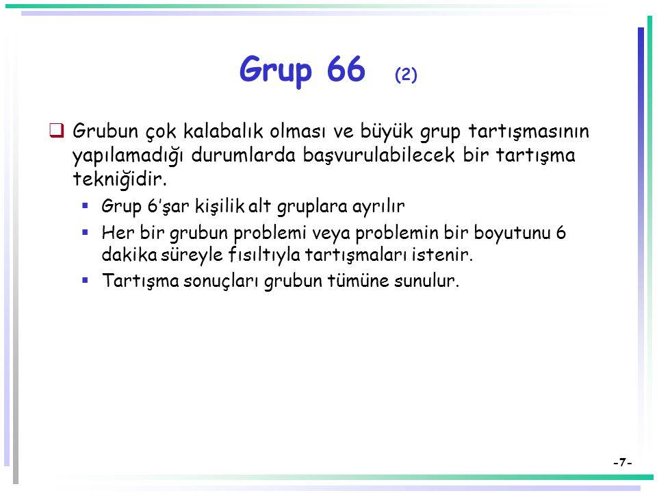 Grup 66 (2) Grubun çok kalabalık olması ve büyük grup tartışmasının yapılamadığı durumlarda başvurulabilecek bir tartışma tekniğidir.