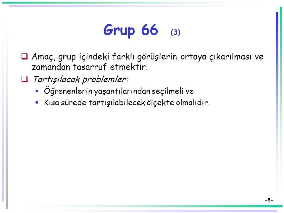 Grup 66 (3) Amaç, grup içindeki farklı görüşlerin ortaya çıkarılması ve zamandan tasarruf etmektir.
