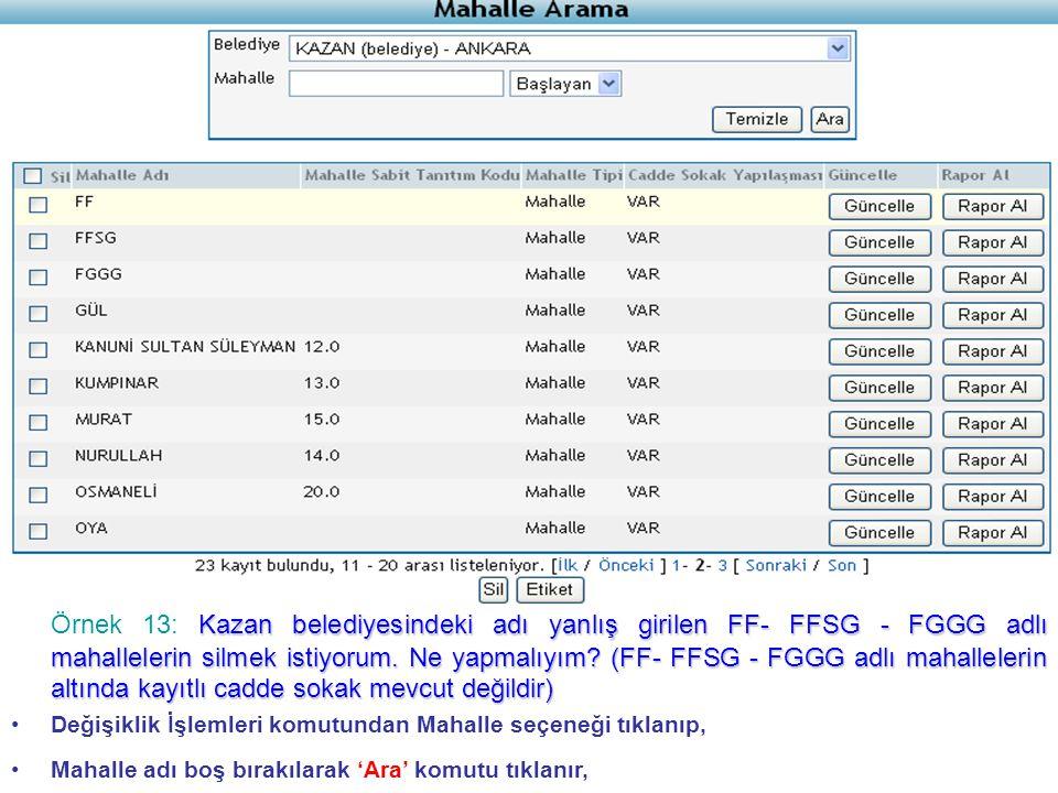 Örnek 13: Kazan belediyesindeki adı yanlış girilen FF- FFSG - FGGG adlı mahallelerin silmek istiyorum. Ne yapmalıyım (FF- FFSG - FGGG adlı mahallelerin altında kayıtlı cadde sokak mevcut değildir)