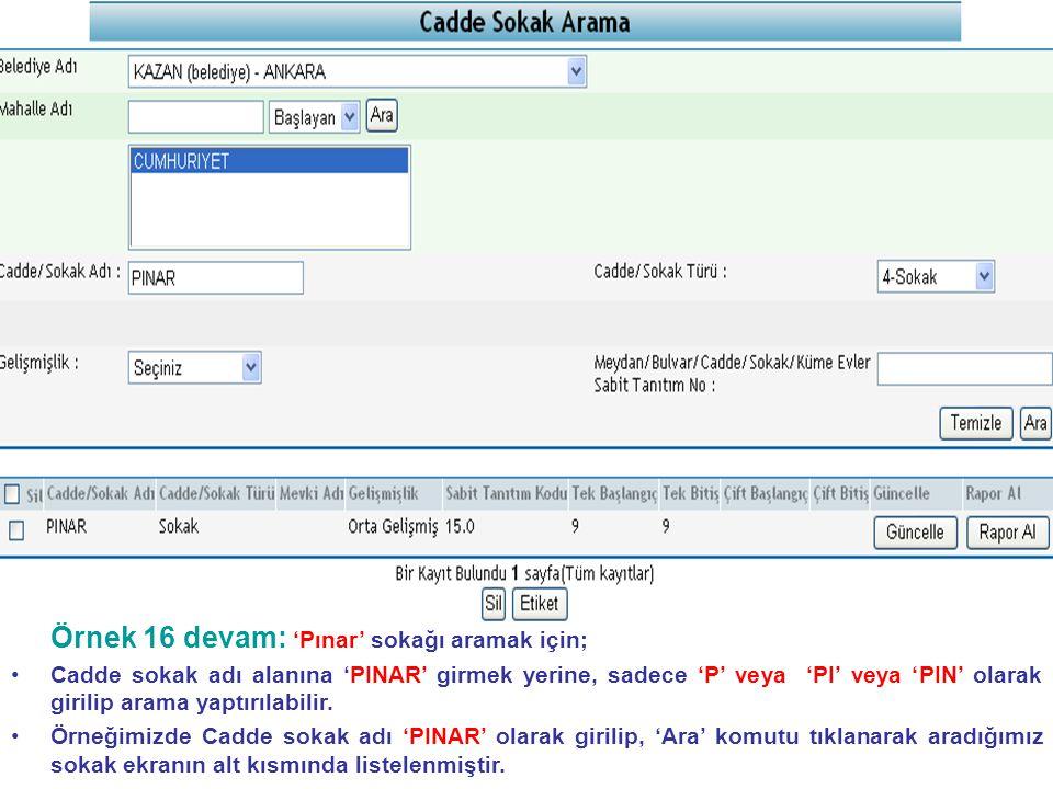 Örnek 16 devam: 'Pınar' sokağı aramak için;