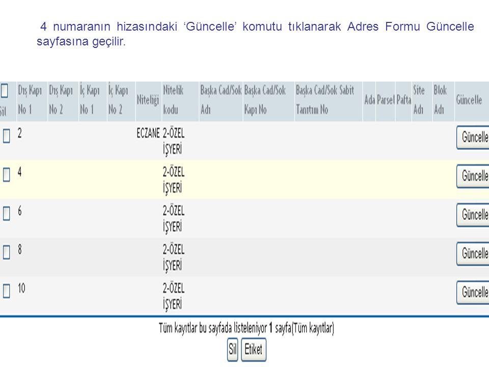 4 numaranın hizasındaki 'Güncelle' komutu tıklanarak Adres Formu Güncelle sayfasına geçilir.
