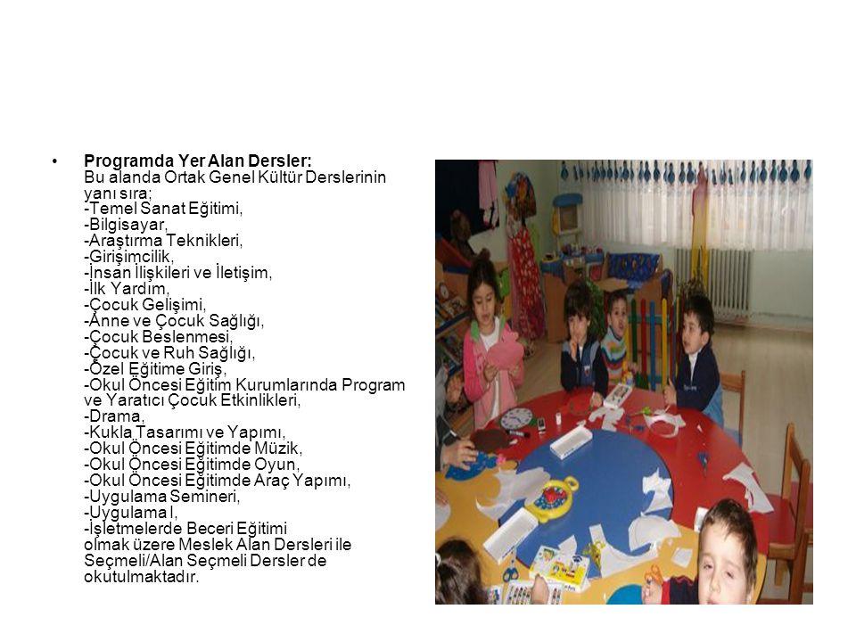 Programda Yer Alan Dersler: Bu alanda Ortak Genel Kültür Derslerinin yanı sıra; -Temel Sanat Eğitimi, -Bilgisayar, -Araştırma Teknikleri, -Girişimcilik, -İnsan İlişkileri ve İletişim, -İlk Yardım, -Çocuk Gelişimi, -Anne ve Çocuk Sağlığı, -Çocuk Beslenmesi, -Çocuk ve Ruh Sağlığı, -Özel Eğitime Giriş, -Okul Öncesi Eğitim Kurumlarında Program ve Yaratıcı Çocuk Etkinlikleri, -Drama, -Kukla Tasarımı ve Yapımı, -Okul Öncesi Eğitimde Müzik, -Okul Öncesi Eğitimde Oyun, -Okul Öncesi Eğitimde Araç Yapımı, -Uygulama Semineri, -Uygulama I, -İşletmelerde Beceri Eğitimi olmak üzere Meslek Alan Dersleri ile Seçmeli/Alan Seçmeli Dersler de okutulmaktadır.