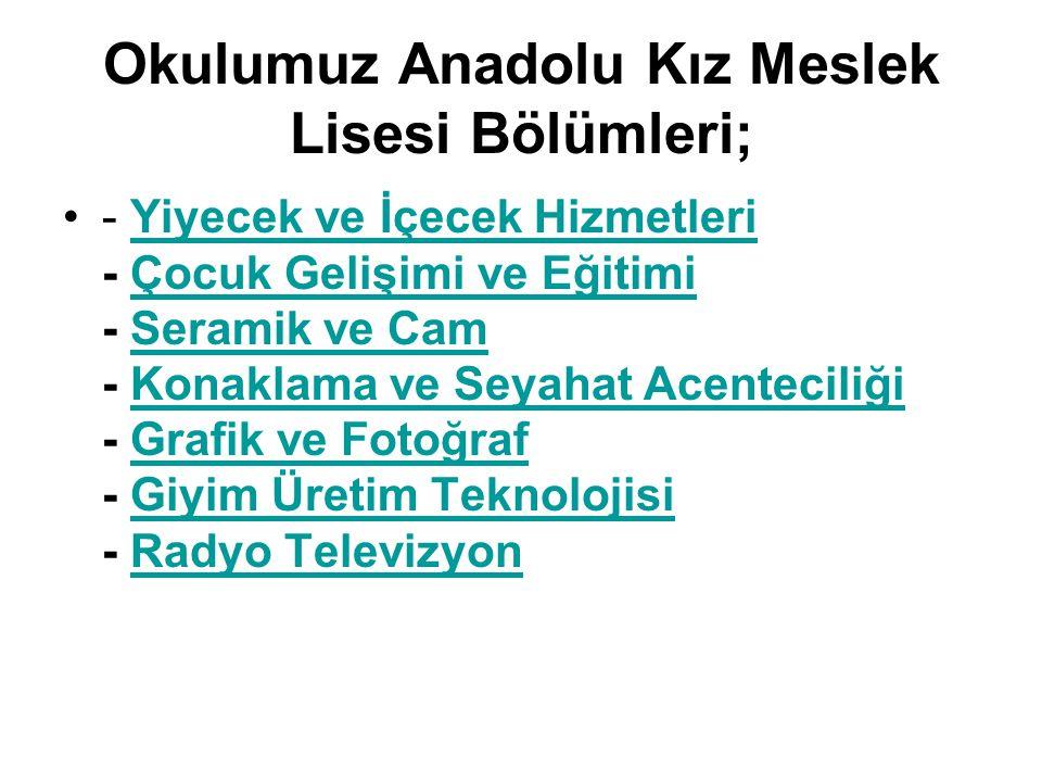 Okulumuz Anadolu Kız Meslek Lisesi Bölümleri;