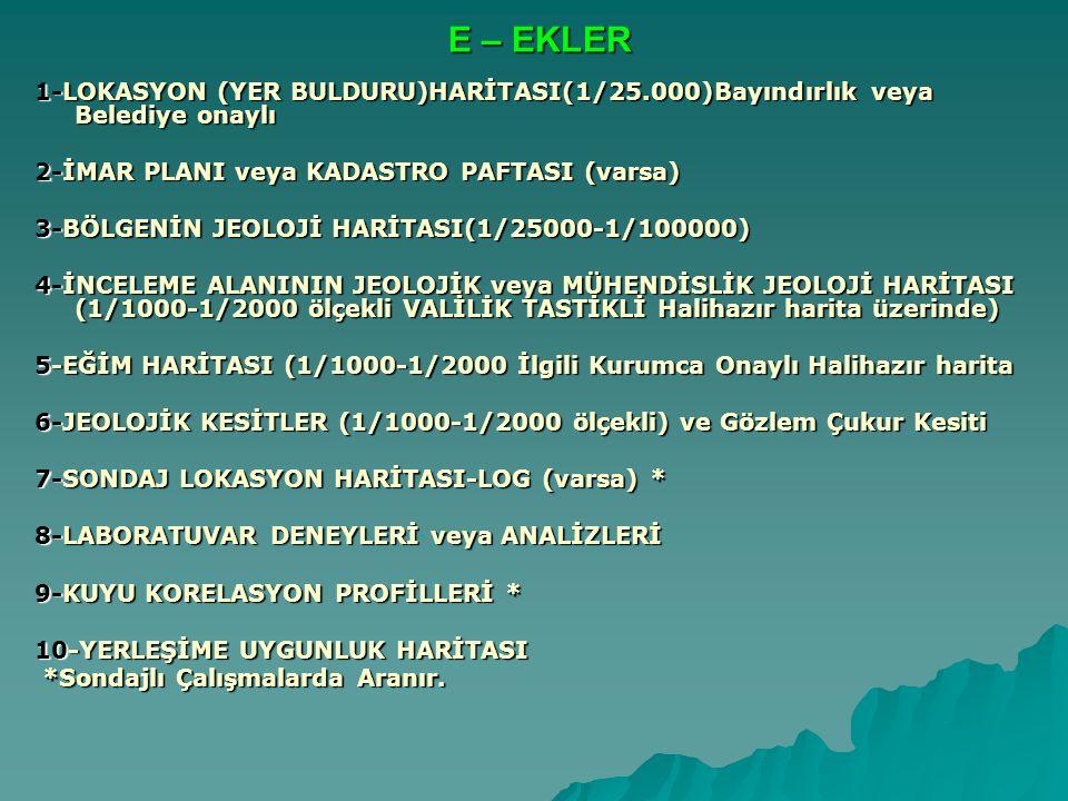 E – EKLER 1-LOKASYON (YER BULDURU)HARİTASI(1/25.000)Bayındırlık veya Belediye onaylı. 2-İMAR PLANI veya KADASTRO PAFTASI (varsa)
