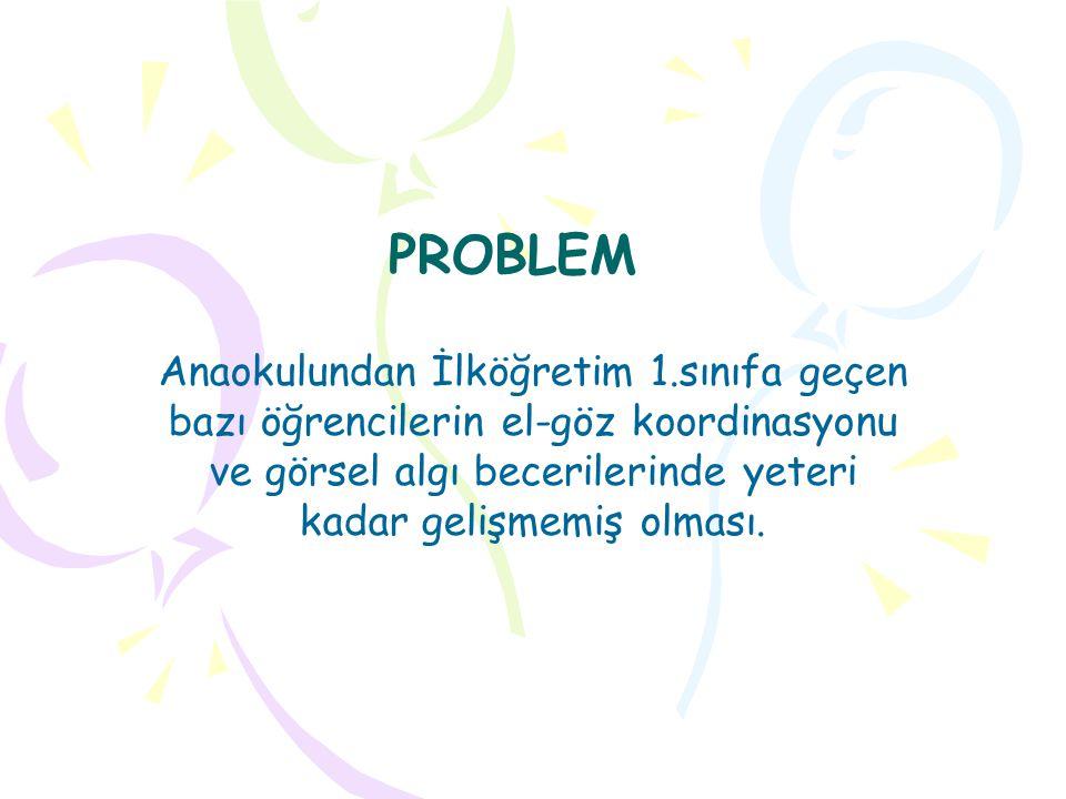 PROBLEM Anaokulundan İlköğretim 1.sınıfa geçen bazı öğrencilerin el-göz koordinasyonu ve görsel algı becerilerinde yeteri kadar gelişmemiş olması.