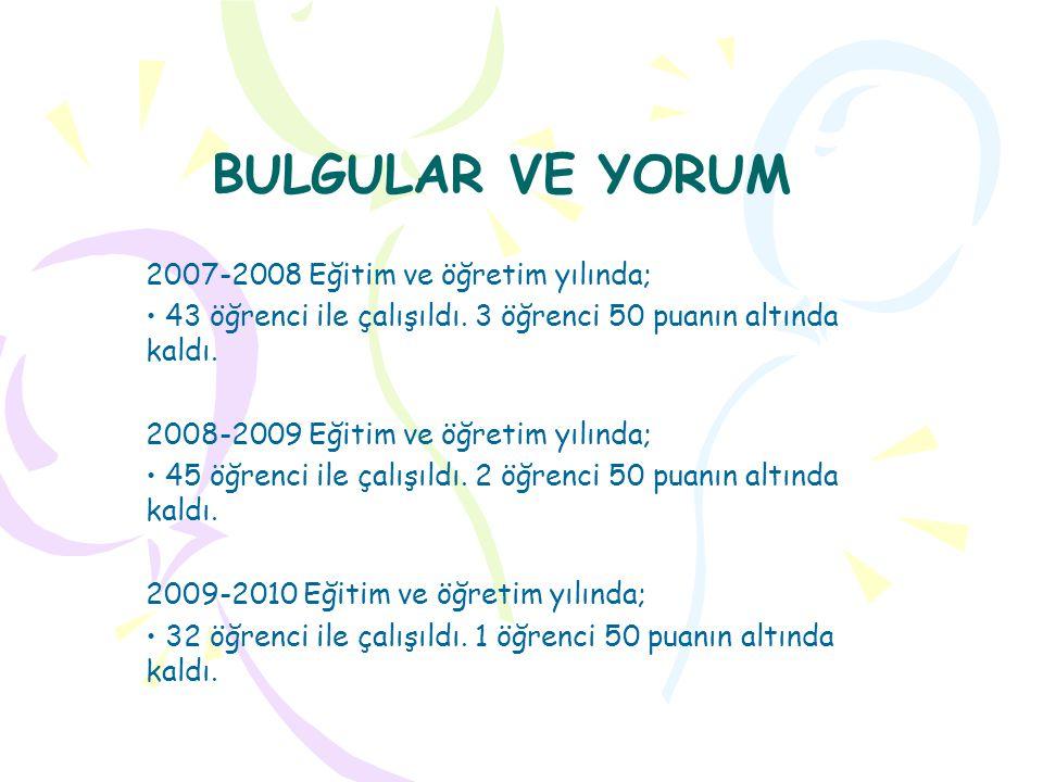 BULGULAR VE YORUM 2007-2008 Eğitim ve öğretim yılında;