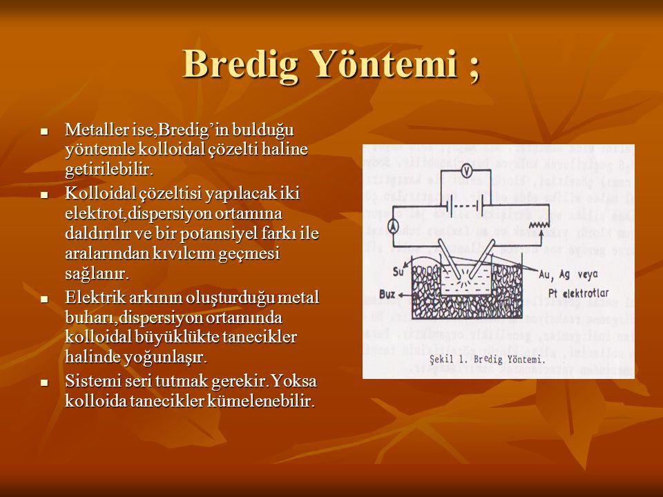 Bredig Yöntemi ; Metaller ise,Bredig'in bulduğu yöntemle kolloidal çözelti haline getirilebilir.