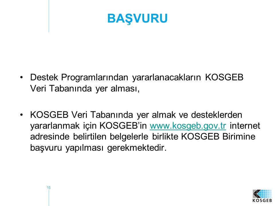 BAŞVURU Destek Programlarından yararlanacakların KOSGEB Veri Tabanında yer alması,