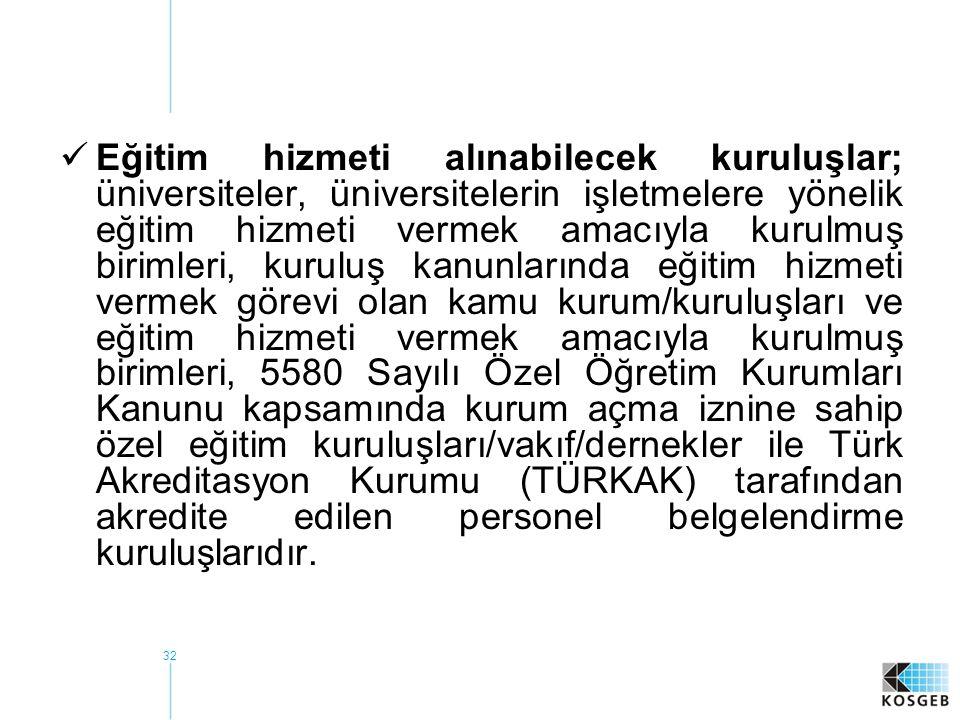 Eğitim hizmeti alınabilecek kuruluşlar; üniversiteler, üniversitelerin işletmelere yönelik eğitim hizmeti vermek amacıyla kurulmuş birimleri, kuruluş kanunlarında eğitim hizmeti vermek görevi olan kamu kurum/kuruluşları ve eğitim hizmeti vermek amacıyla kurulmuş birimleri, 5580 Sayılı Özel Öğretim Kurumları Kanunu kapsamında kurum açma iznine sahip özel eğitim kuruluşları/vakıf/dernekler ile Türk Akreditasyon Kurumu (TÜRKAK) tarafından akredite edilen personel belgelendirme kuruluşlarıdır.