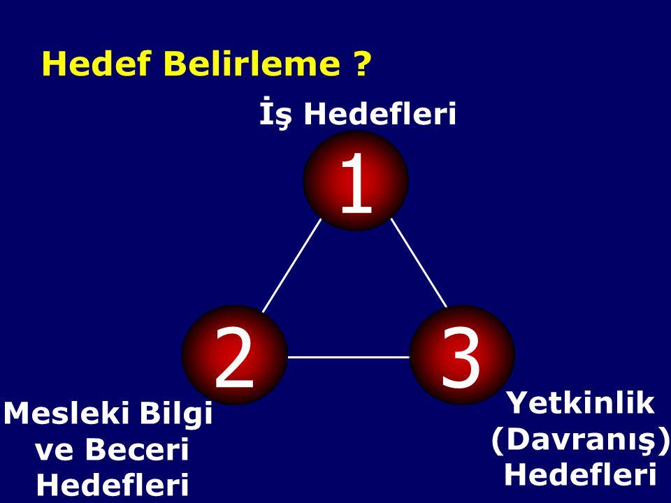 1 2 3 Hedef Belirleme İş Hedefleri Yetkinlik Mesleki Bilgi