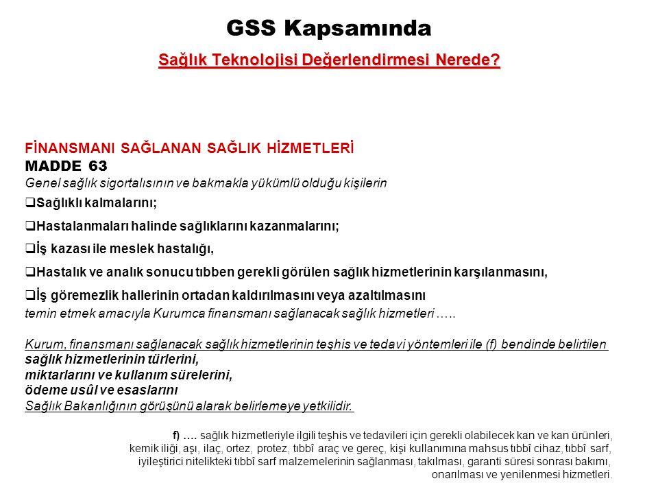 GSS Kapsamında Sağlık Teknolojisi Değerlendirmesi Nerede