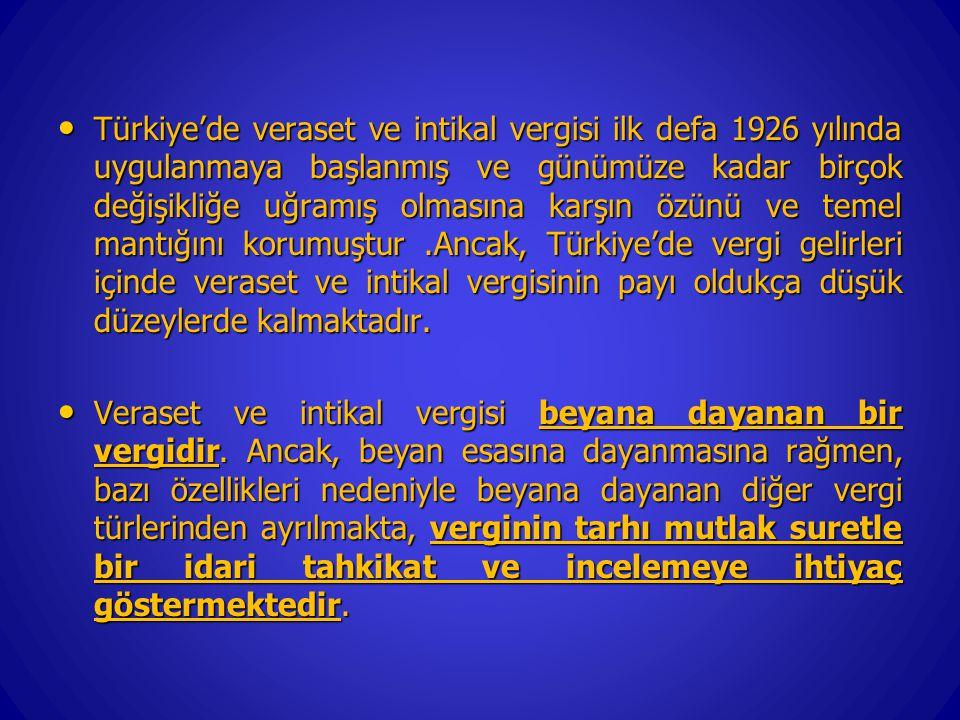 Türkiye'de veraset ve intikal vergisi ilk defa 1926 yılında uygulanmaya başlanmış ve günümüze kadar birçok değişikliğe uğramış olmasına karşın özünü ve temel mantığını korumuştur .Ancak, Türkiye'de vergi gelirleri içinde veraset ve intikal vergisinin payı oldukça düşük düzeylerde kalmaktadır.