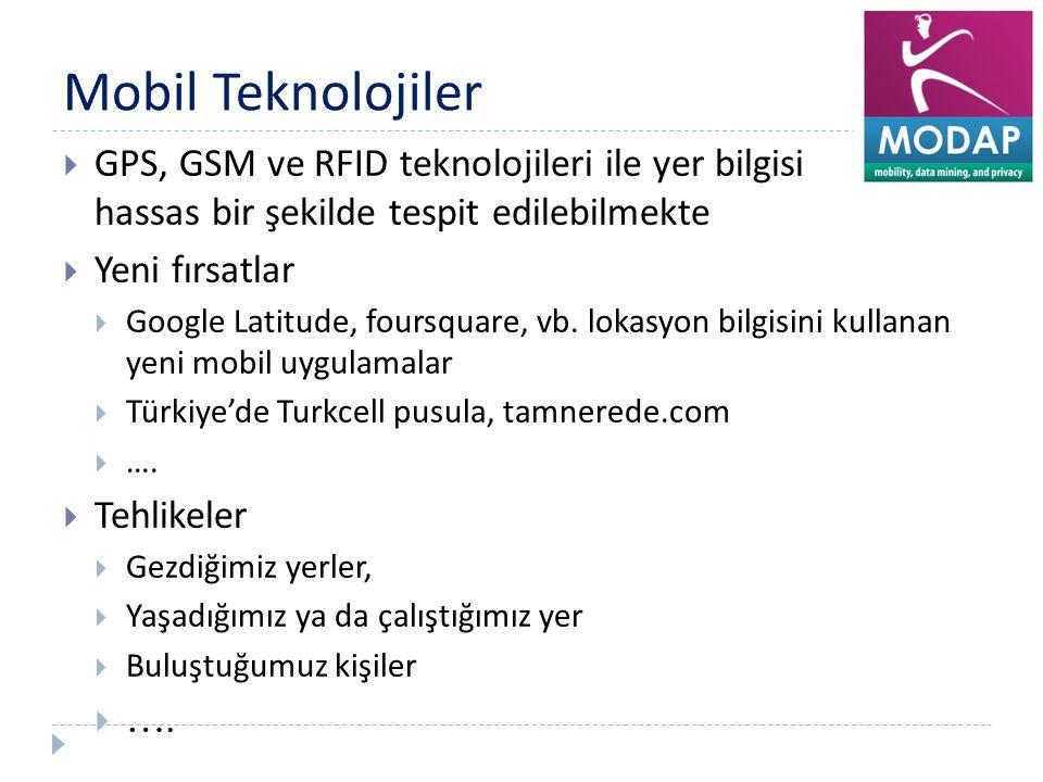 Mobil Teknolojiler GPS, GSM ve RFID teknolojileri ile yer bilgisi hassas bir şekilde tespit edilebilmekte.