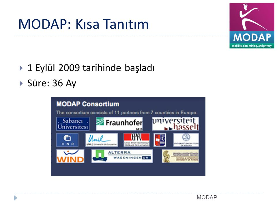 MODAP: Kısa Tanıtım 1 Eylül 2009 tarihinde başladı Süre: 36 Ay MODAP