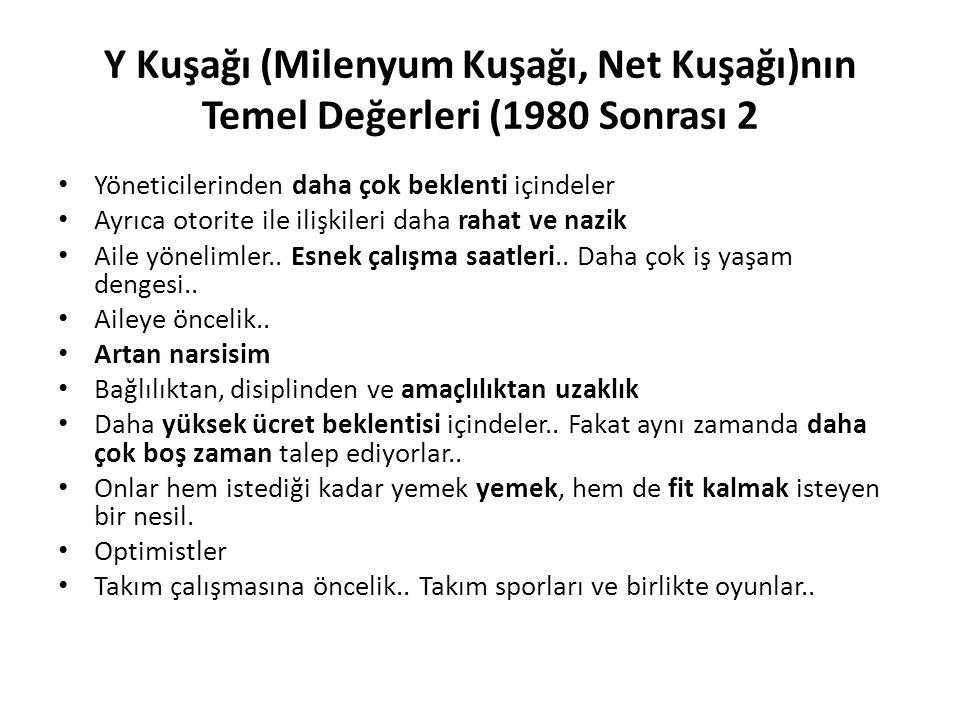 Y Kuşağı (Milenyum Kuşağı, Net Kuşağı)nın Temel Değerleri (1980 Sonrası 2