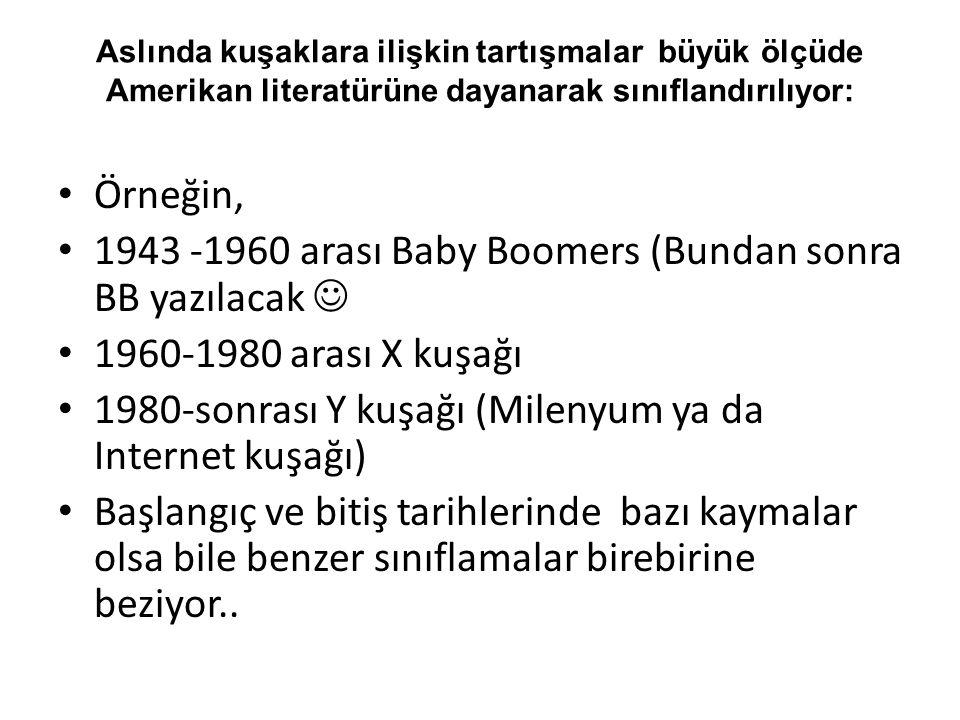 1943 -1960 arası Baby Boomers (Bundan sonra BB yazılacak 