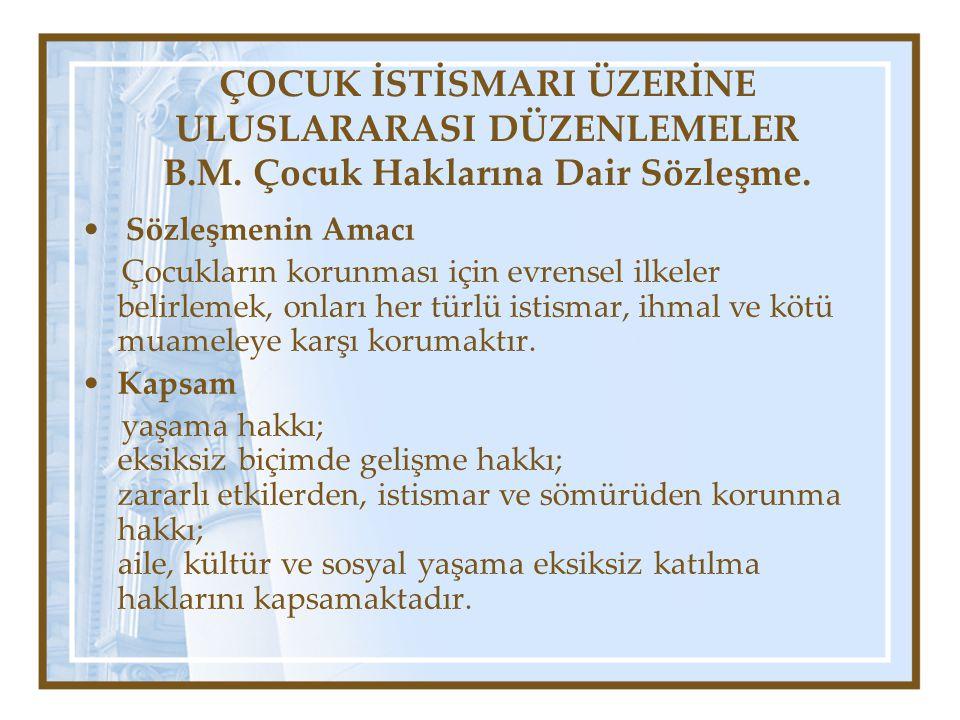 ÇOCUK İSTİSMARI ÜZERİNE ULUSLARARASI DÜZENLEMELER B. M