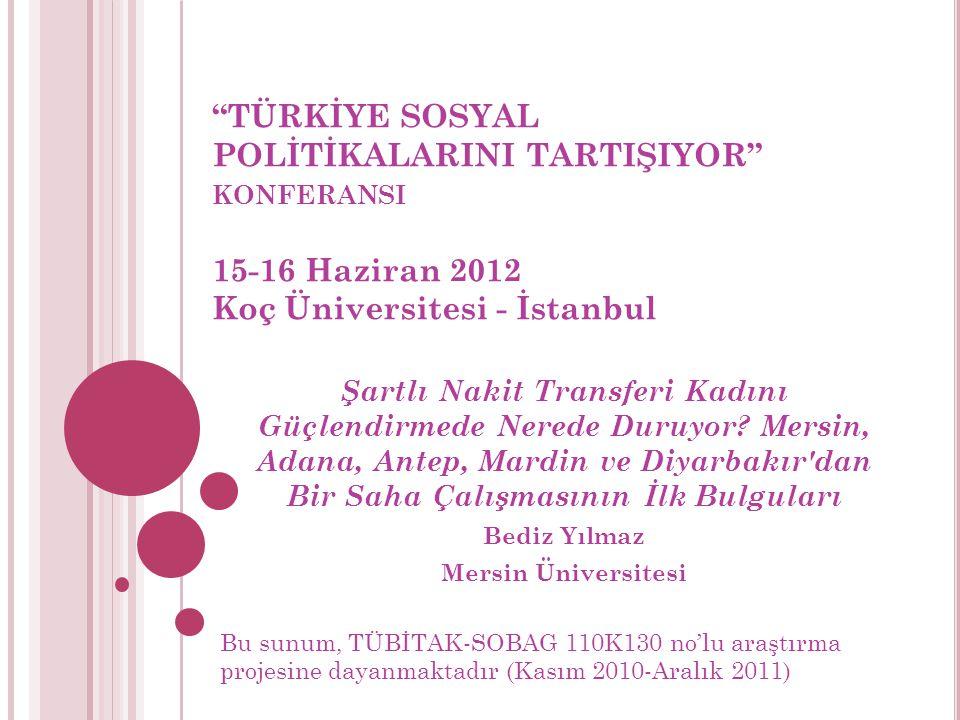 TÜRKİYE SOSYAL POLİTİKALARINI TARTIŞIYOR konferansi 15-16 Haziran 2012 Koç Üniversitesi - İstanbul