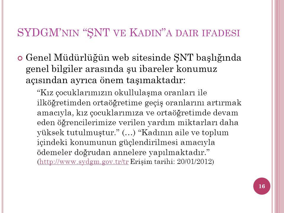 SYDGM'nin ŞNT ve Kadin a dair ifadesi