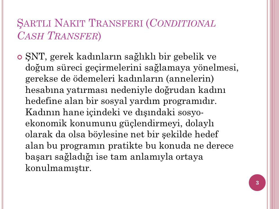 Şartli Nakit Transferi (Conditional Cash Transfer)