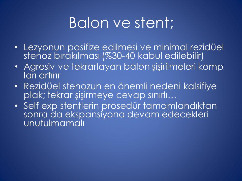 Balon ve stent; Lezyonun pasifize edilmesi ve minimal rezidüel stenoz bırakılması (%30-40 kabul edilebilir)