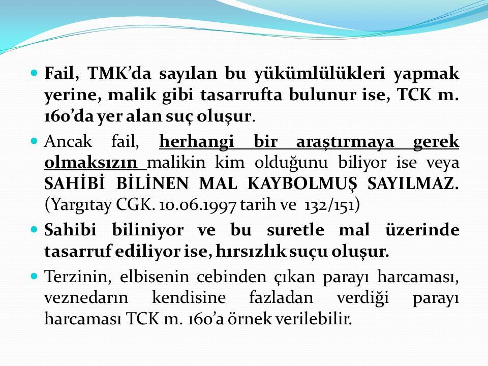Fail, TMK'da sayılan bu yükümlülükleri yapmak yerine, malik gibi tasarrufta bulunur ise, TCK m. 160'da yer alan suç oluşur.