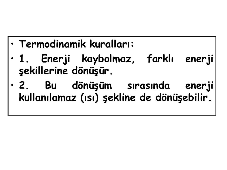Termodinamik kuralları: