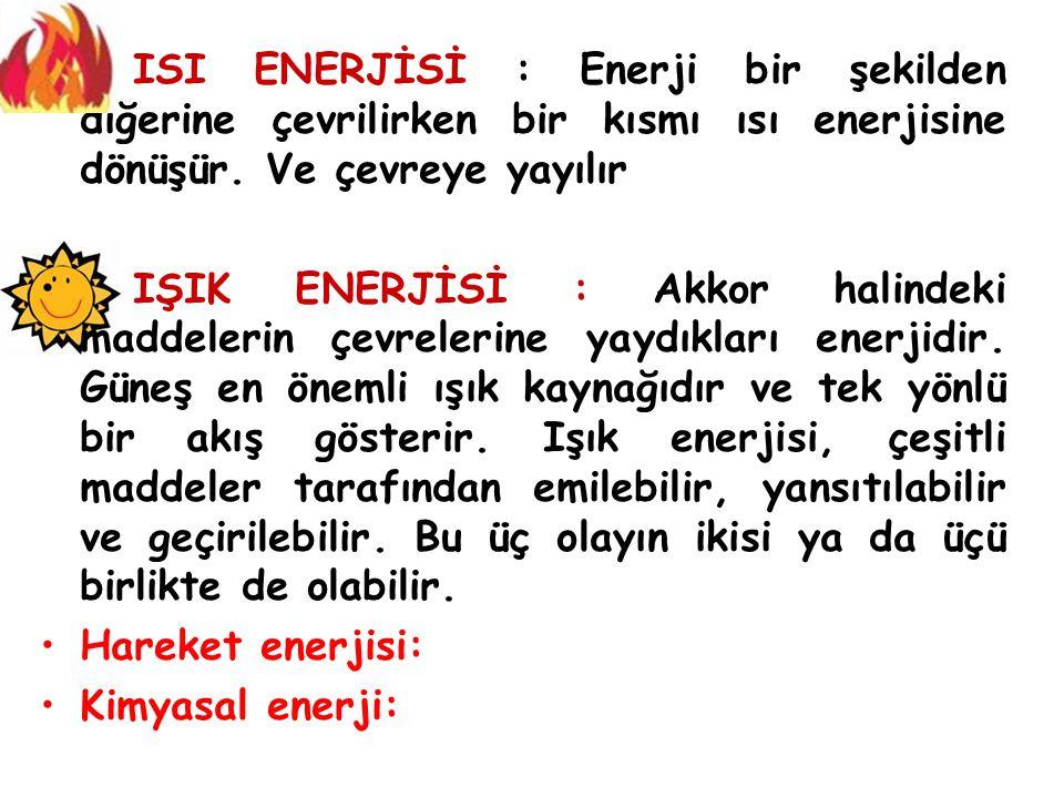 ISI ENERJİSİ : Enerji bir şekilden diğerine çevrilirken bir kısmı ısı enerjisine dönüşür. Ve çevreye yayılır
