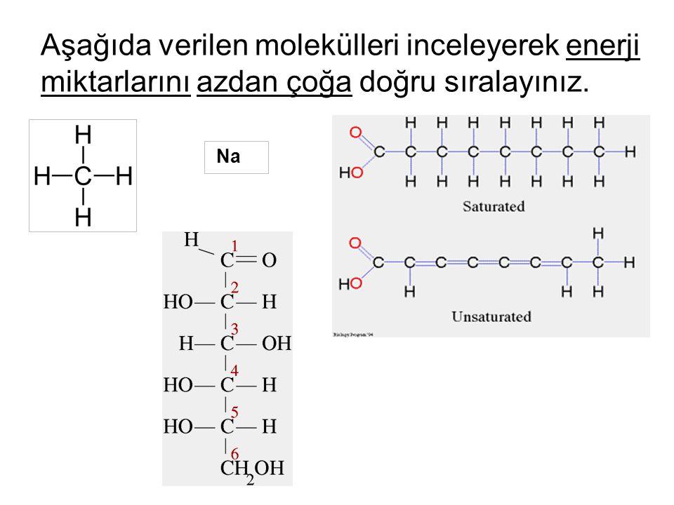 Aşağıda verilen molekülleri inceleyerek enerji miktarlarını azdan çoğa doğru sıralayınız.