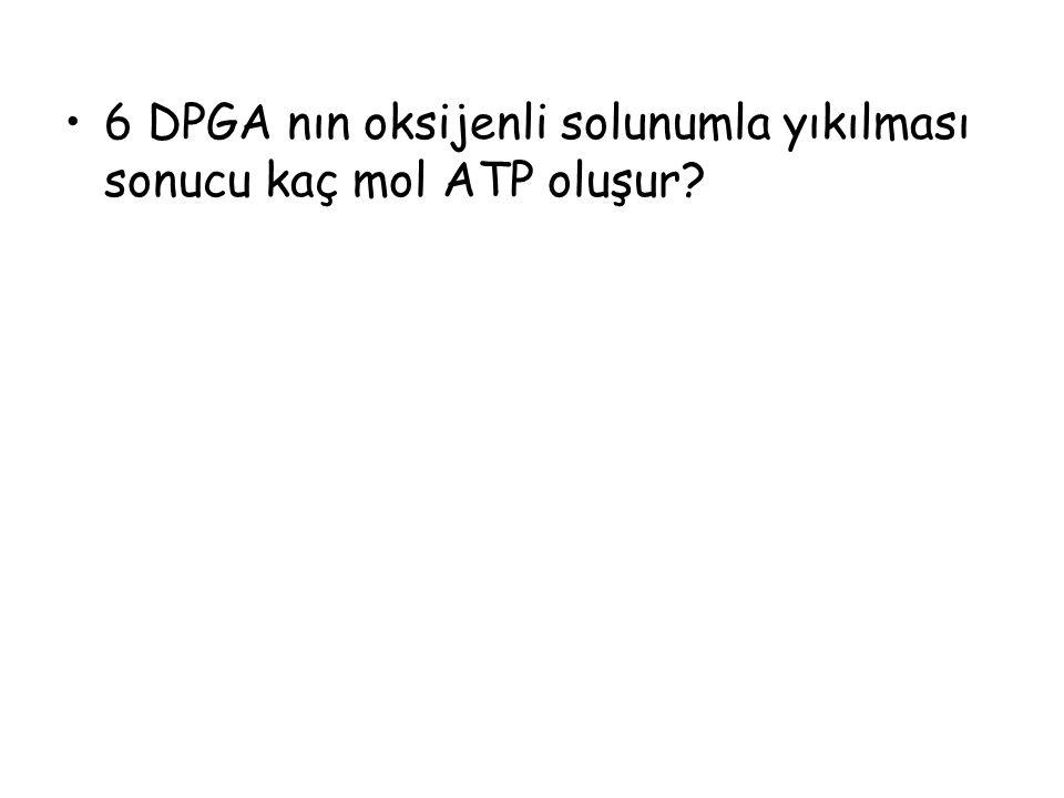 6 DPGA nın oksijenli solunumla yıkılması sonucu kaç mol ATP oluşur