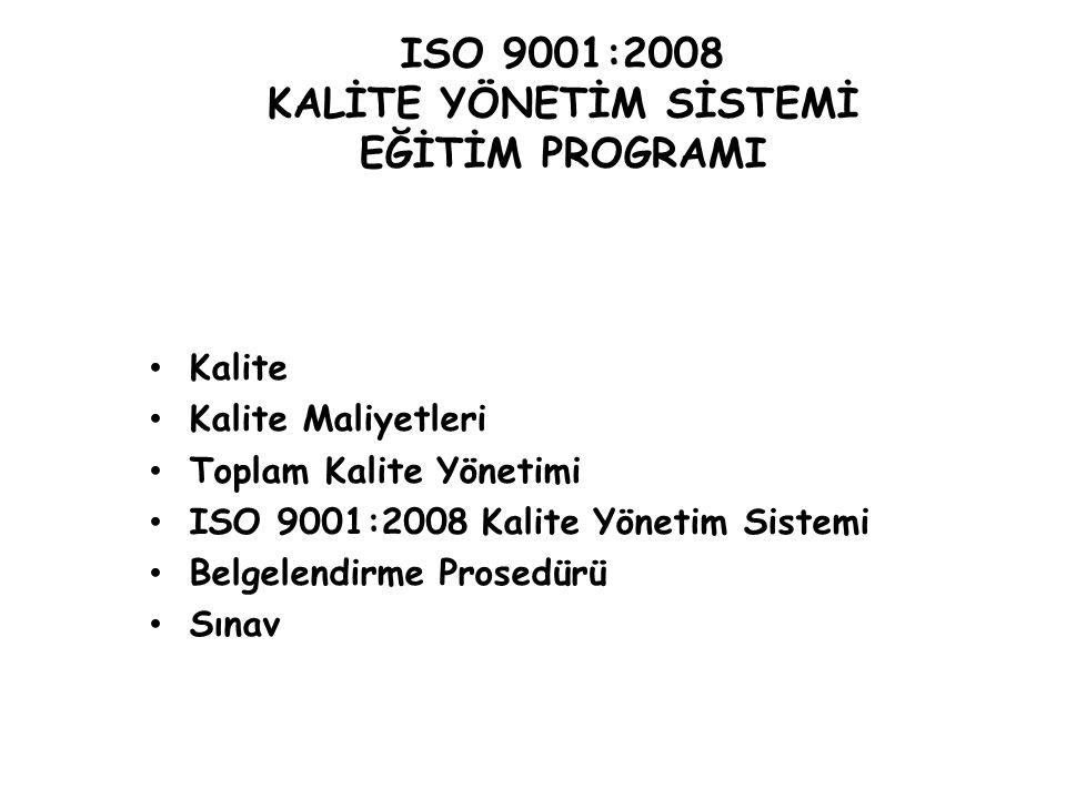ISO 9001:2008 KALİTE YÖNETİM SİSTEMİ EĞİTİM PROGRAMI