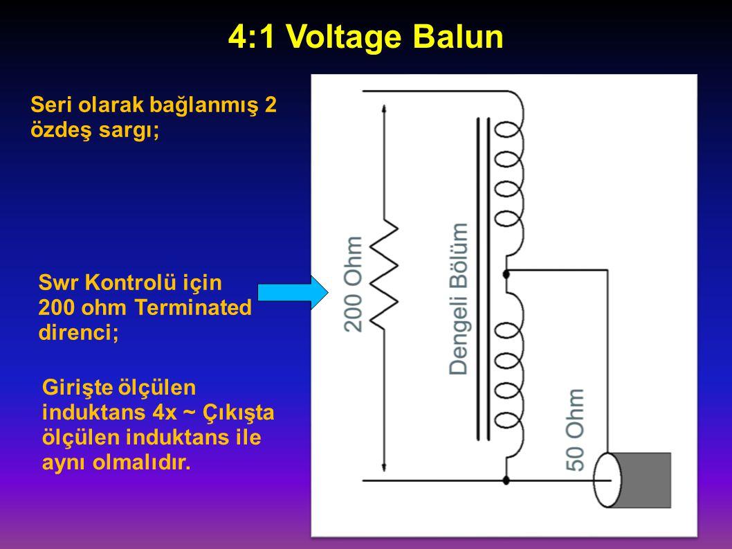 4:1 Voltage Balun Seri olarak bağlanmış 2 özdeş sargı;