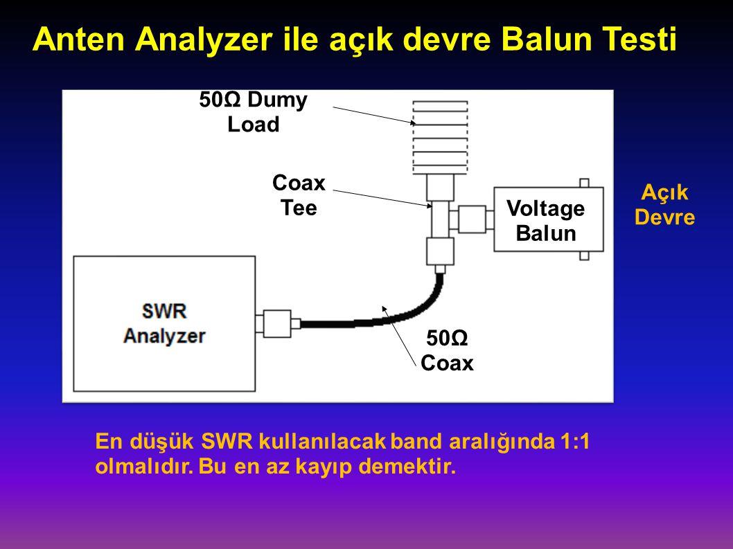 Anten Analyzer ile açık devre Balun Testi