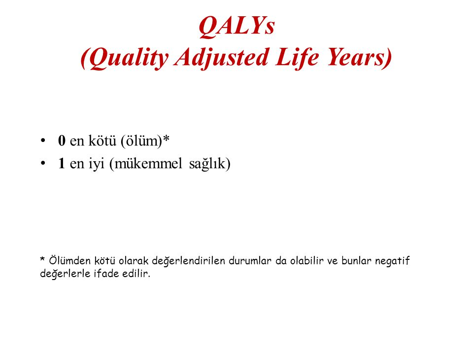 QALYs (Quality Adjusted Life Years)