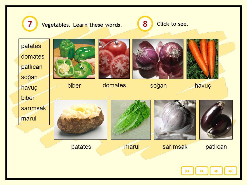 7 8 patates domates patlıcan soğan havuç biber sarımsak marul biber
