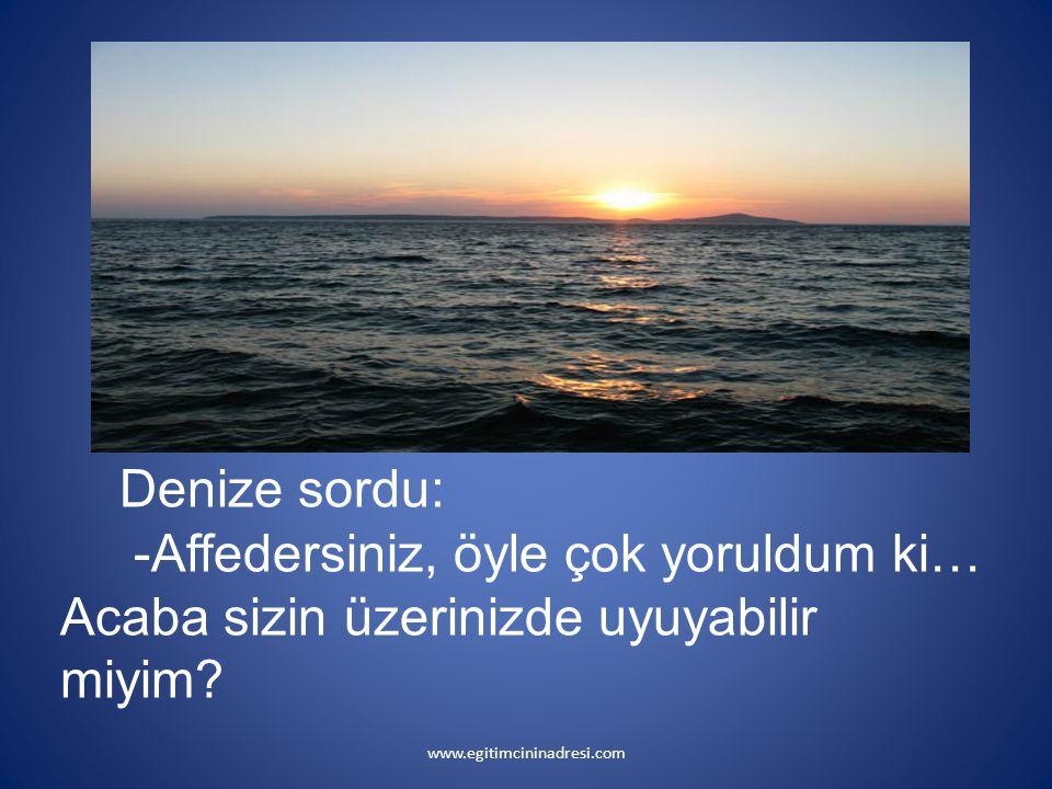 Denize sordu: -Affedersiniz, öyle çok yoruldum ki… Acaba sizin üzerinizde uyuyabilir miyim