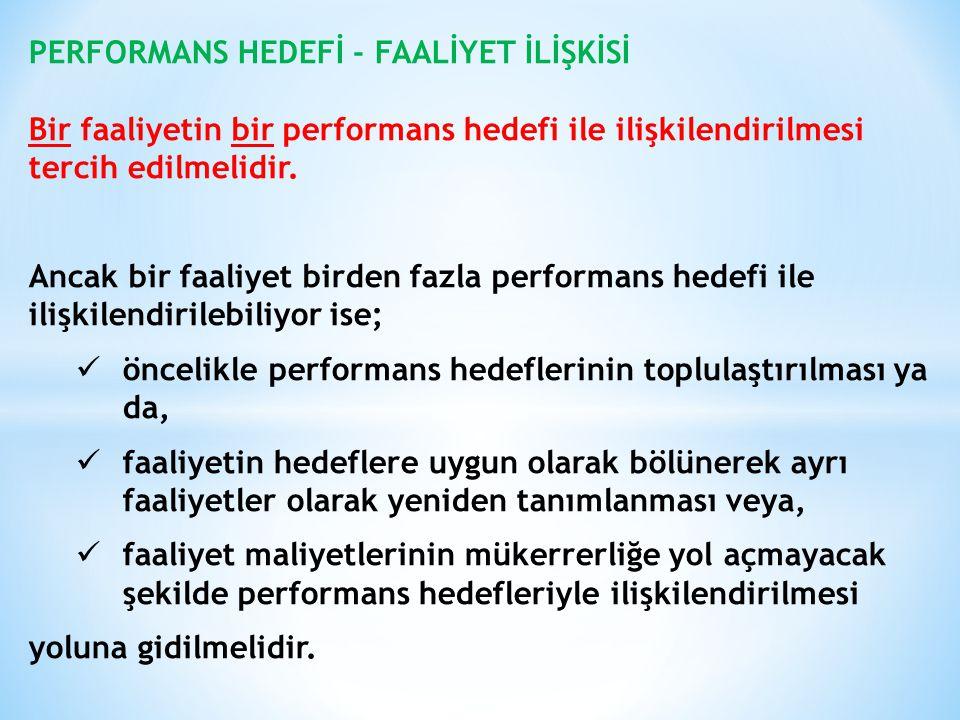 PERFORMANS HEDEFİ - FAALİYET İLİŞKİSİ