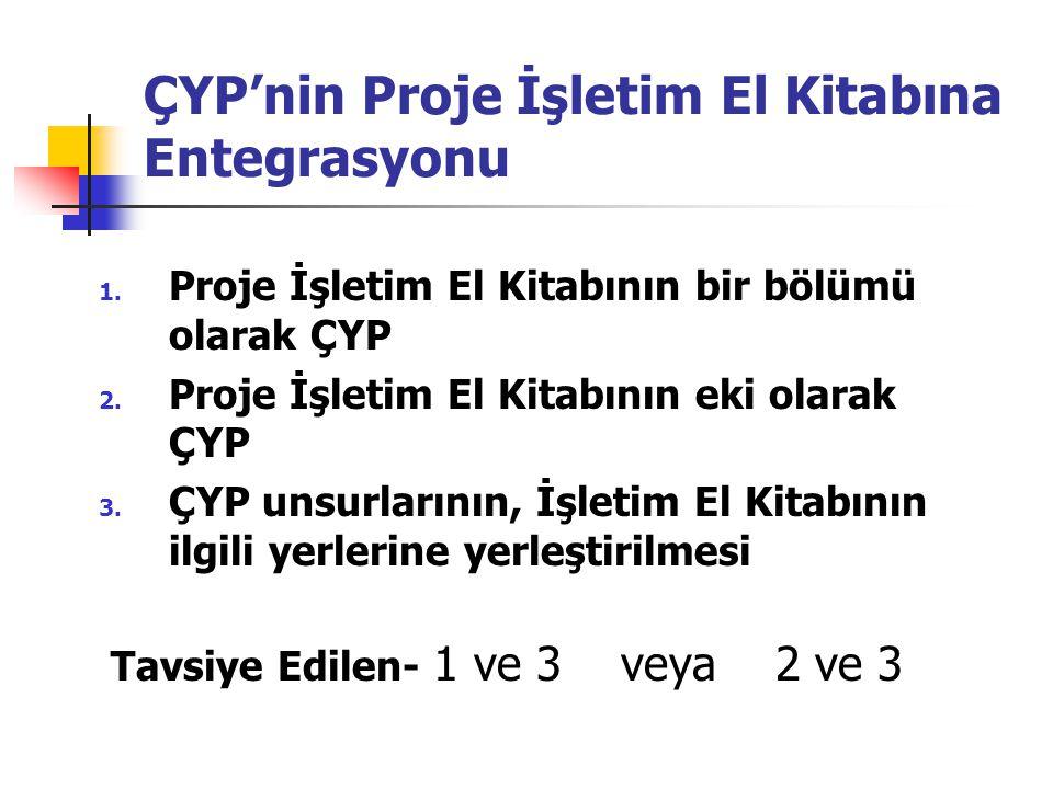 ÇYP'nin Proje İşletim El Kitabına Entegrasyonu