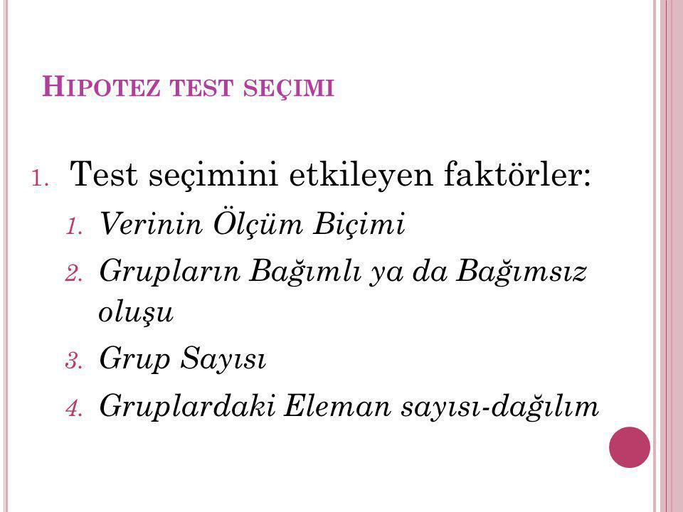 Test seçimini etkileyen faktörler:
