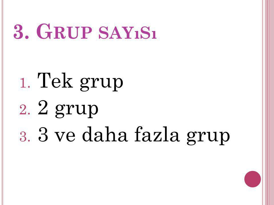 3. Grup sayısı Tek grup 2 grup 3 ve daha fazla grup