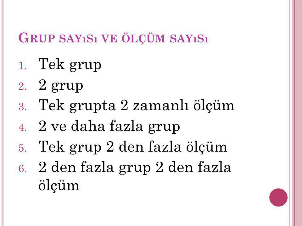Grup sayısı ve ölçüm sayısı