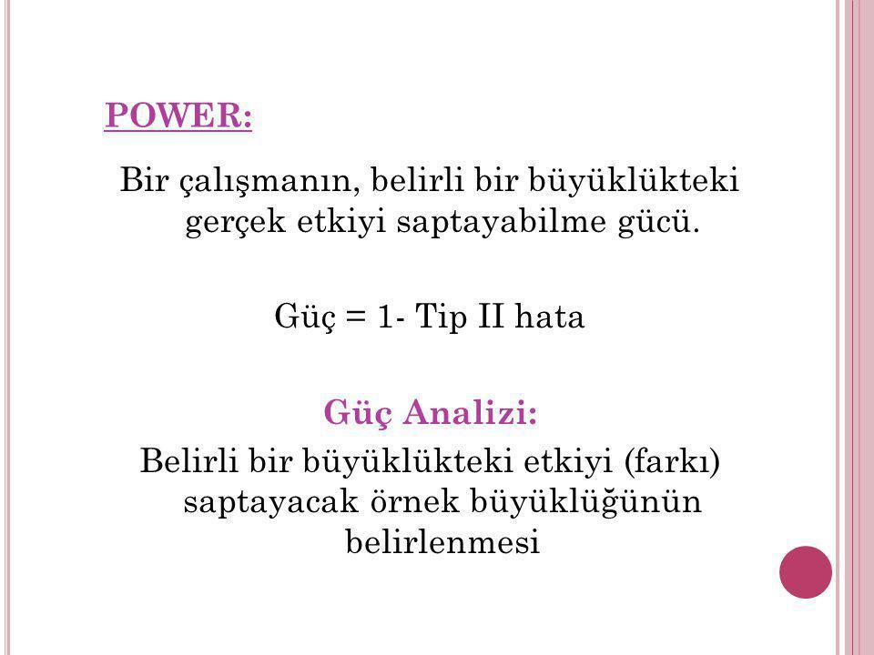 POWER: Bir çalışmanın, belirli bir büyüklükteki gerçek etkiyi saptayabilme gücü. Güç = 1- Tip II hata.